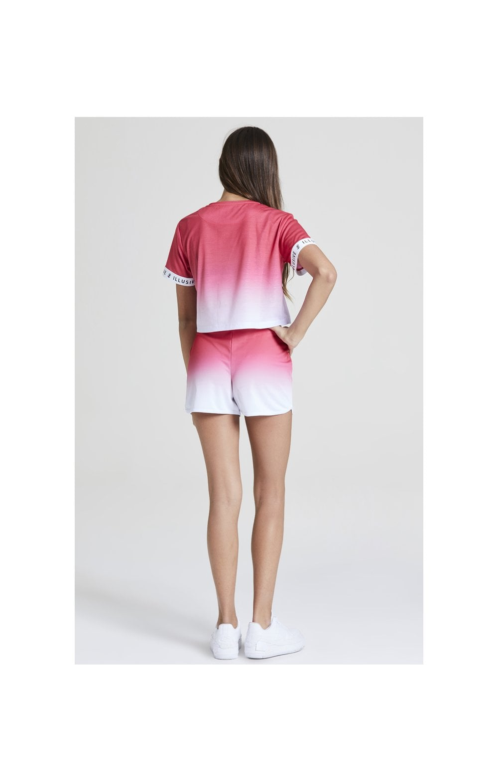 Illusive London Pink Fade Croped Tee - Pink & White (4)