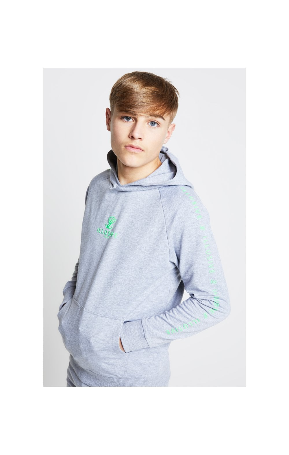 Illusive London Overhead Hoodie - Grey & Neon Green