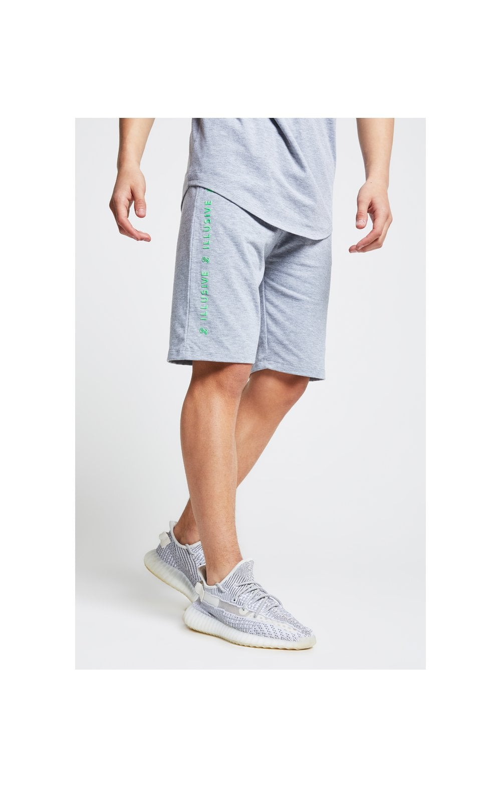Illusive London Tape Jersey Shorts - Grey & Neon Green