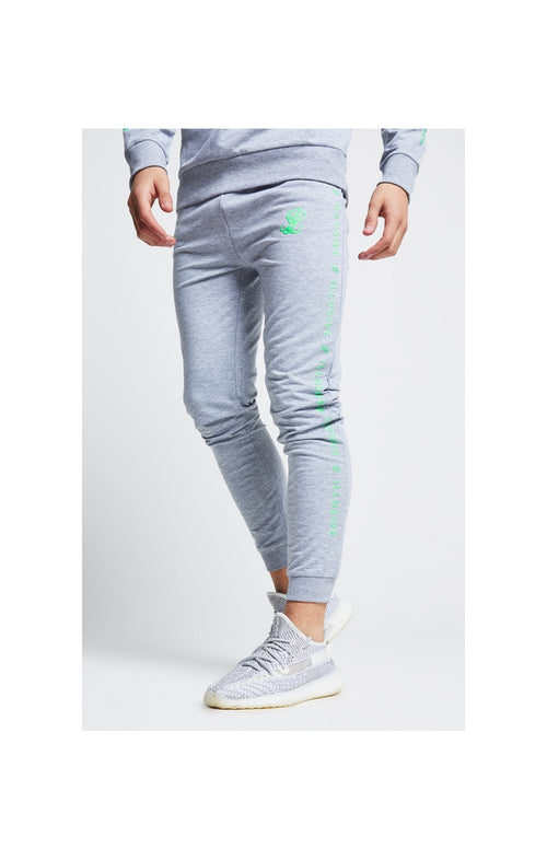 Illusive London Tape Cuffed Joggers - Grey & Neon Green