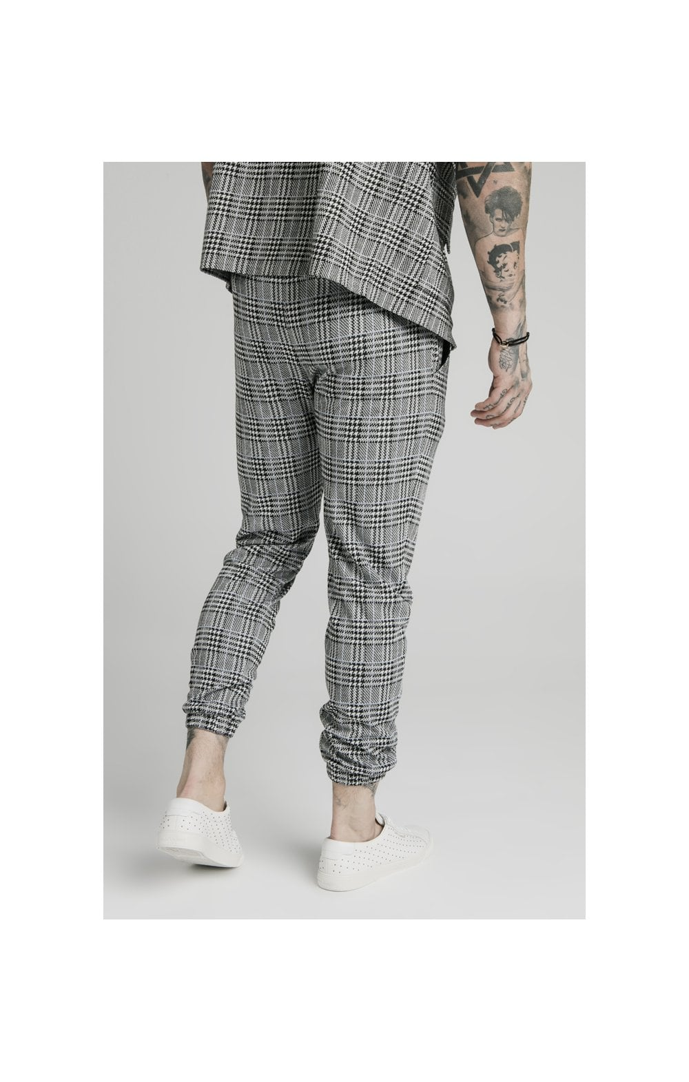SikSilk Smart Cuff Pants - Grey Dogtooth (1)