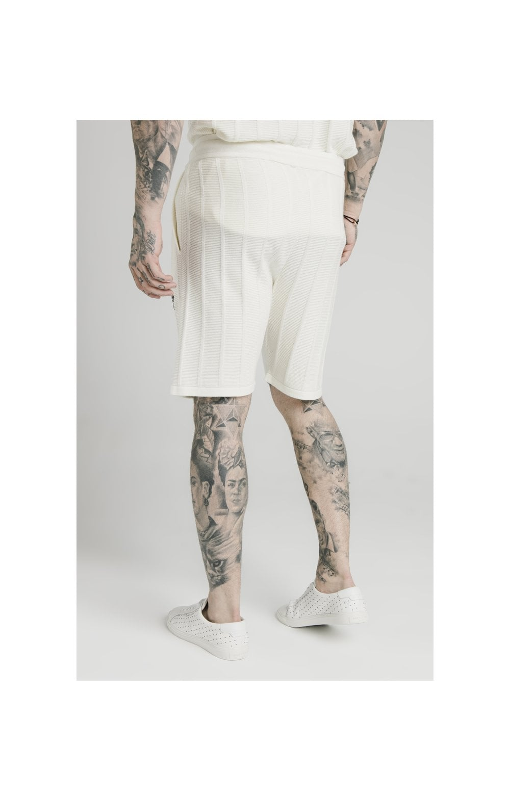 SikSilk Fitted Knit Shorts – Off White (4)