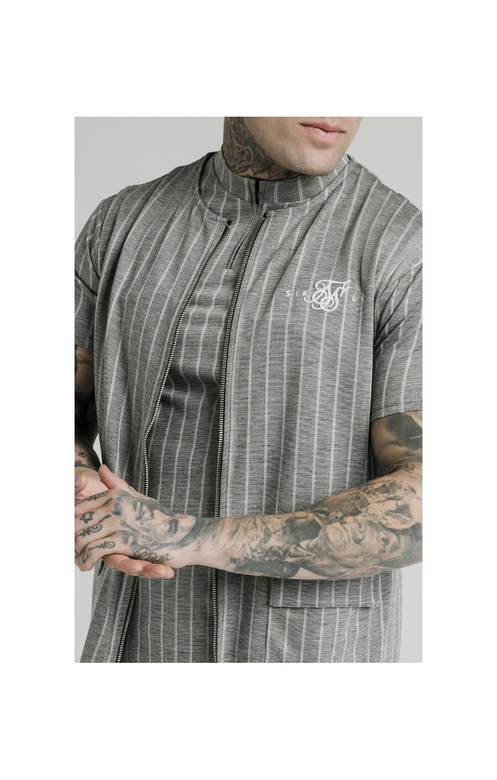 SikSilk Smart Wear Vest - Grey Pin Stripe