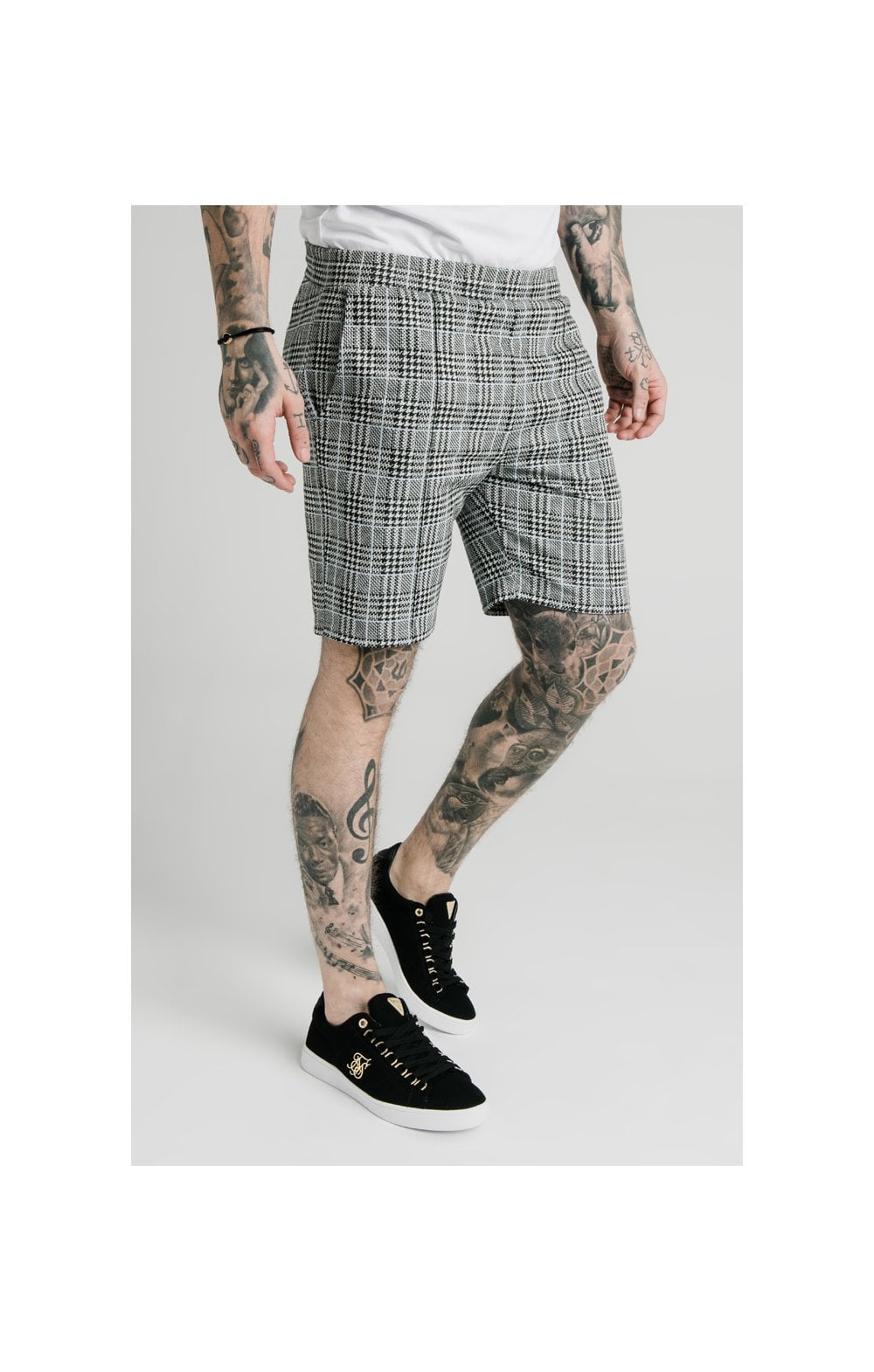 SikSilk Pleated Smart Shorts – Grey Dogtooth