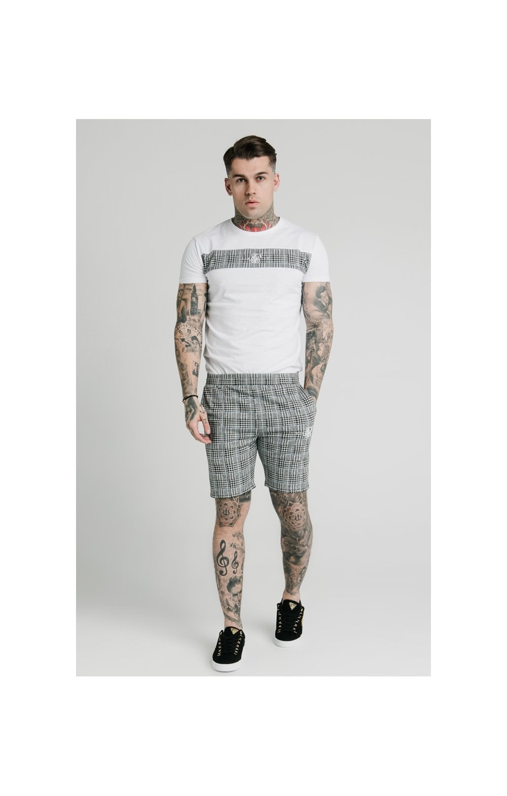 SikSilk Pleated Smart Shorts – Grey Dogtooth (4)