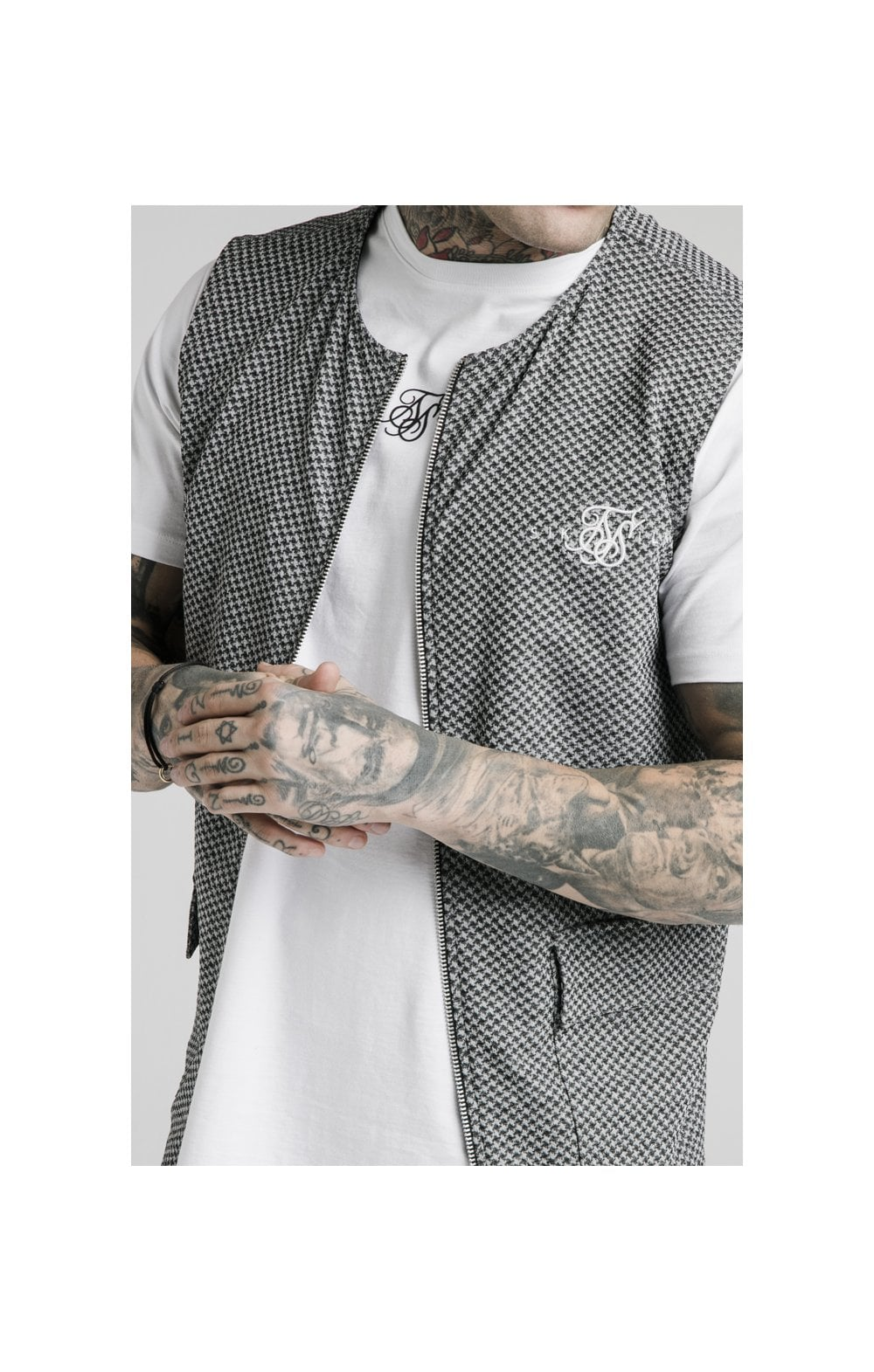 SikSilk Smart Wear Vest - Black & White Dogtooth