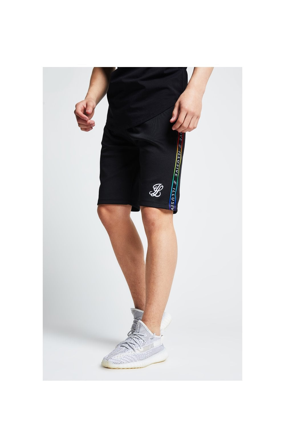 Load image into Gallery viewer, Illusive London Tape Jersey Shorts - Black