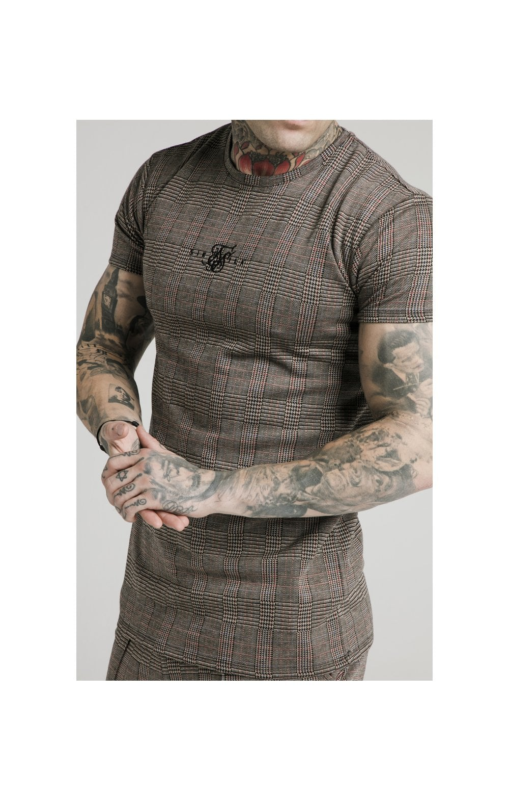 Load image into Gallery viewer, SikSilk S/S Smart Gym Tee – Brown Dogtooth