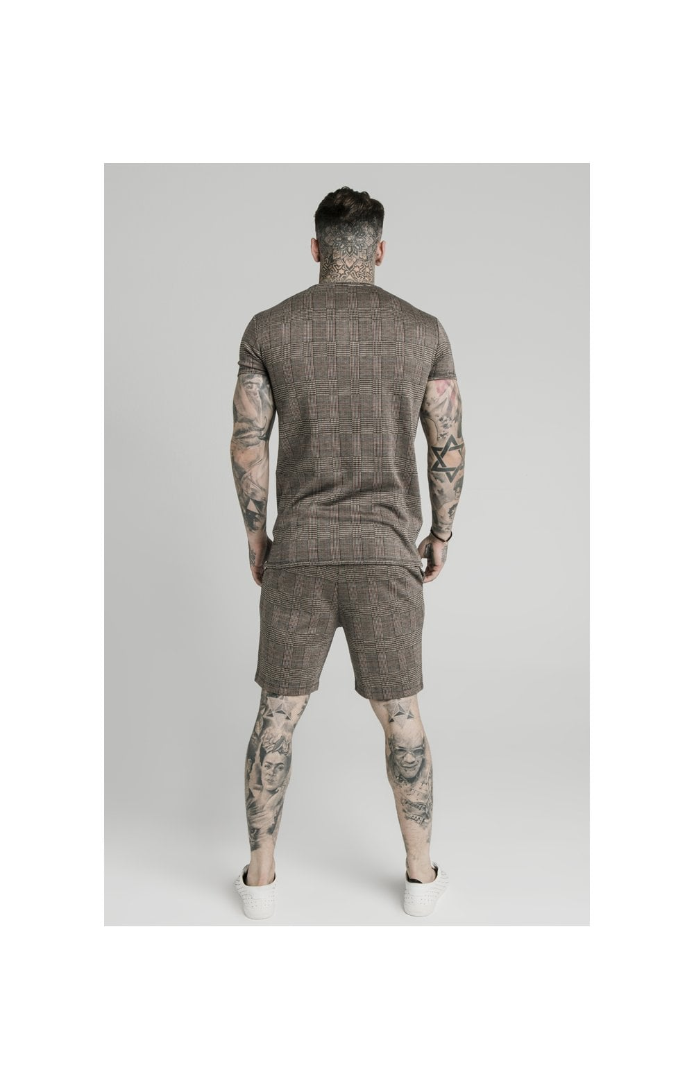 Load image into Gallery viewer, SikSilk S/S Smart Gym Tee – Brown Dogtooth (4)