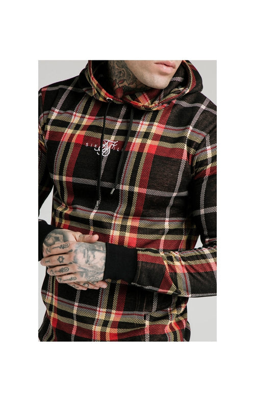 SikSilk Smart Overhead Hoodie Multi Grain Check