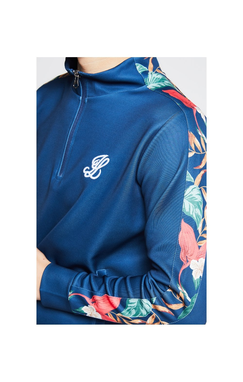 Load image into Gallery viewer, Illusive London Panel Funnel Neck 1/4 Zip Hoodie - Teal & Tropical Leaf (1)