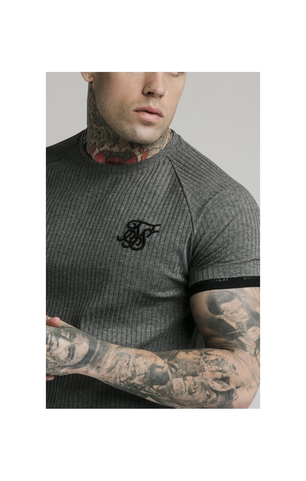 Load image into Gallery viewer, SikSilk S/S Rib Tech Tee – Grey