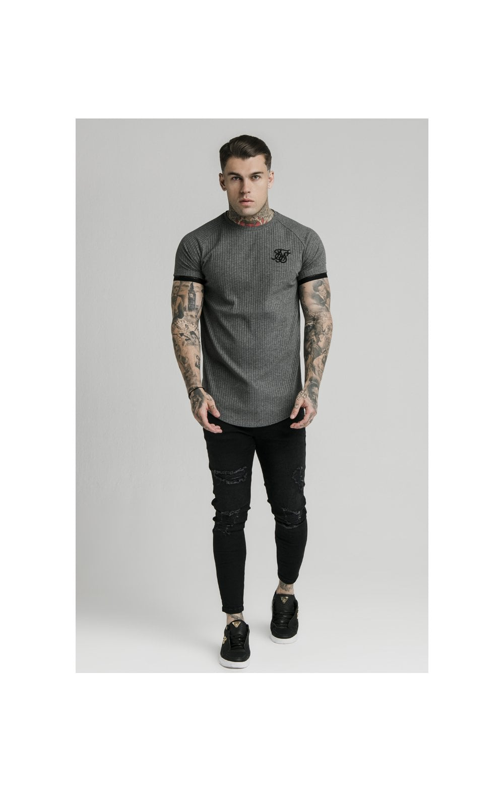 Load image into Gallery viewer, SikSilk S/S Rib Tech Tee – Grey (2)