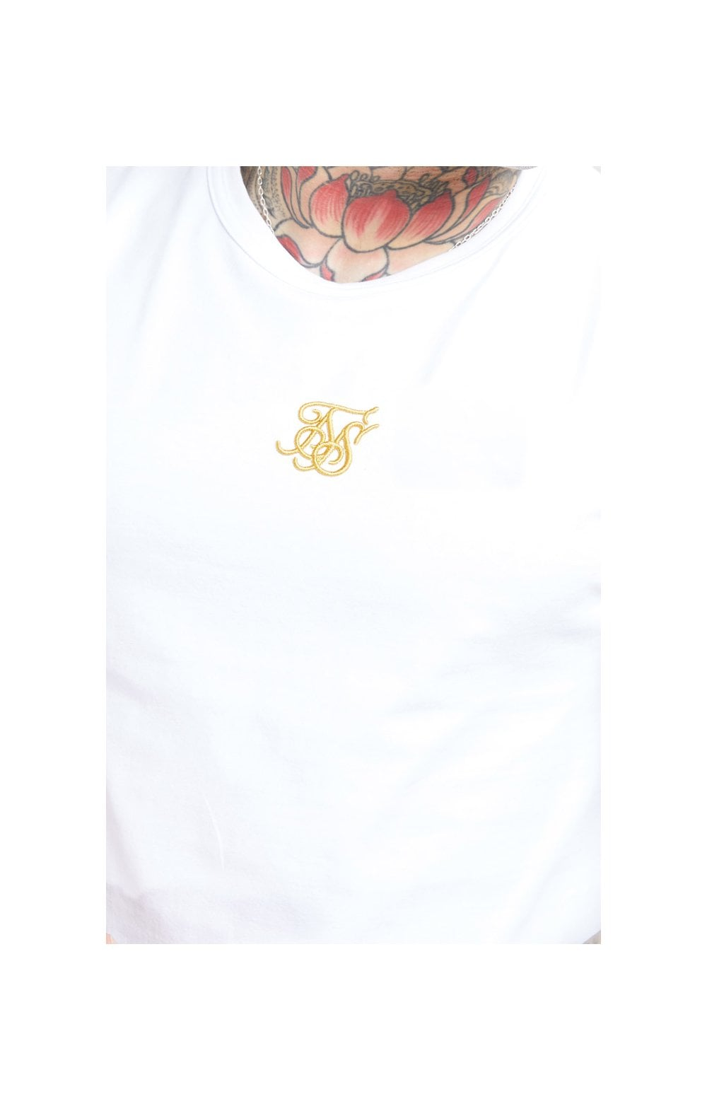 Load image into Gallery viewer, SikSilk S/S Reverse Collar Tee – White & Floral Elegance