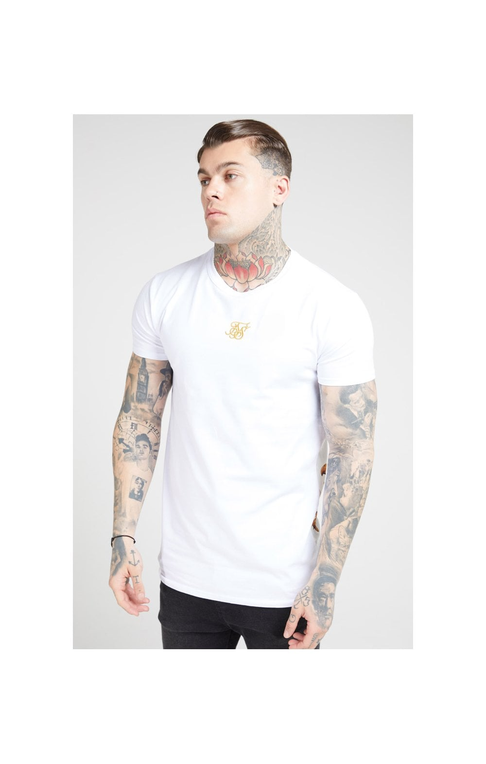 Load image into Gallery viewer, SikSilk S/S Reverse Collar Tee – White & Floral Elegance (1)