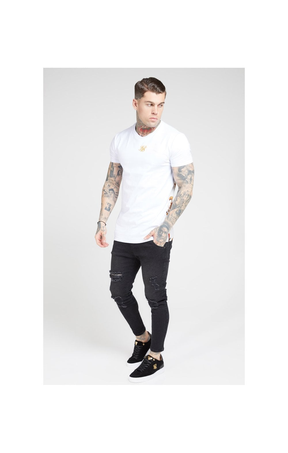 Load image into Gallery viewer, SikSilk S/S Reverse Collar Tee – White & Floral Elegance (2)