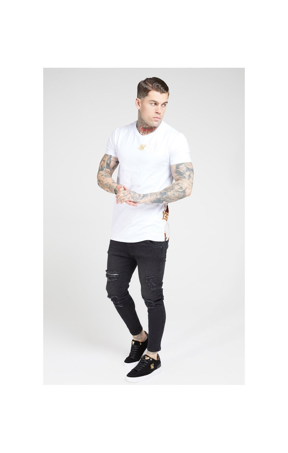 Load image into Gallery viewer, SikSilk S/S Reverse Collar Tee – White & Floral Elegance (3)