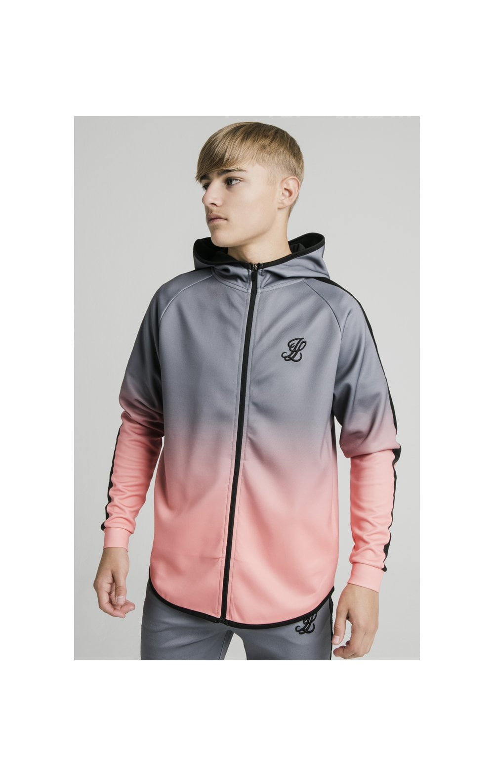 Illusive London Athlete Zip Through Fade Hoodie - Grey & Peach