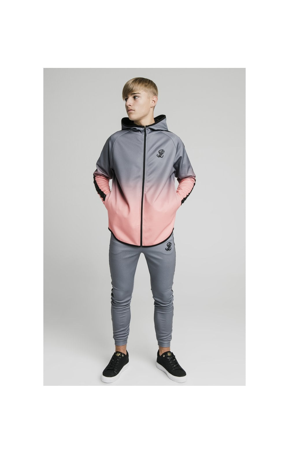Load image into Gallery viewer, Illusive London Athlete Zip Through Fade Hoodie - Grey & Peach (1)