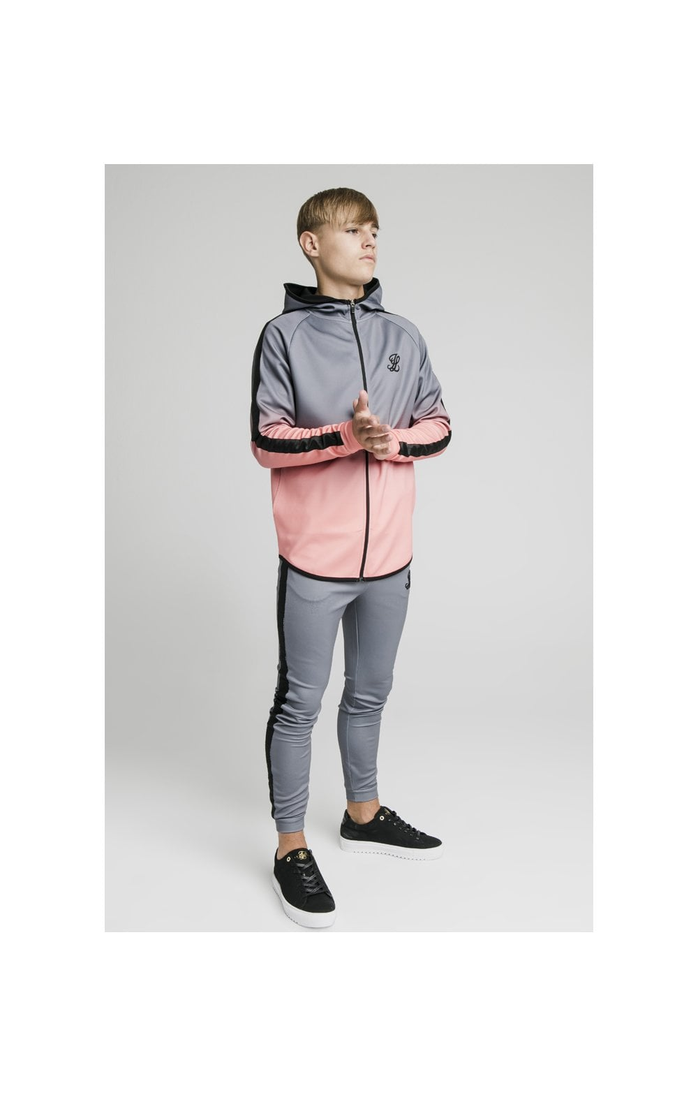 Load image into Gallery viewer, Illusive London Athlete Zip Through Fade Hoodie - Grey & Peach (2)