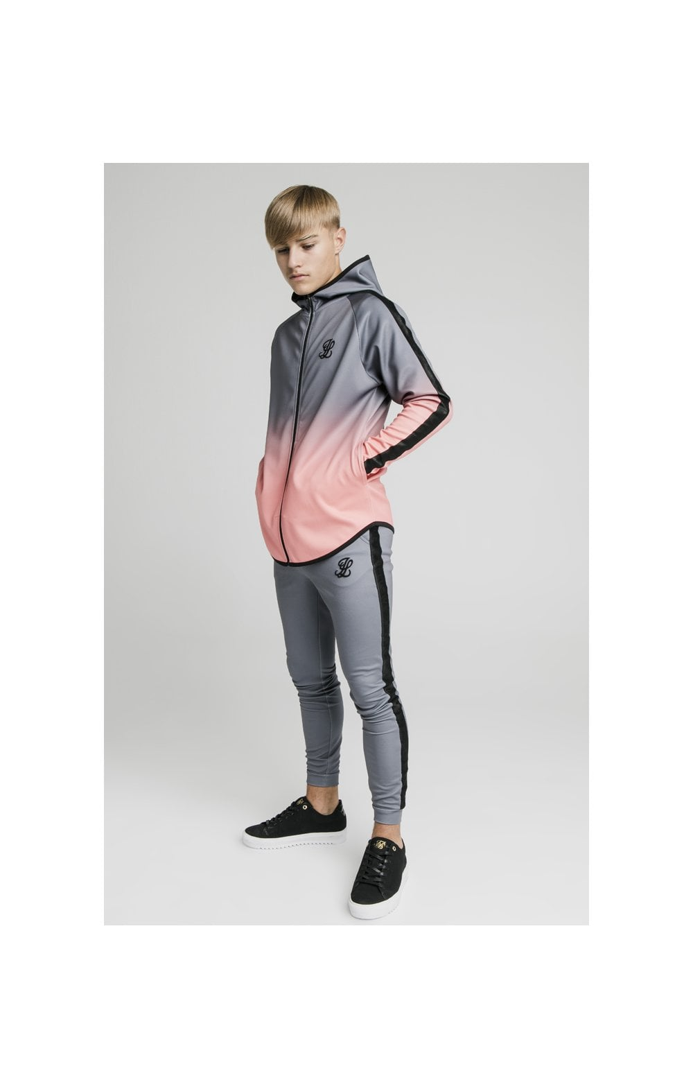 Load image into Gallery viewer, Illusive London Athlete Zip Through Fade Hoodie - Grey & Peach (3)
