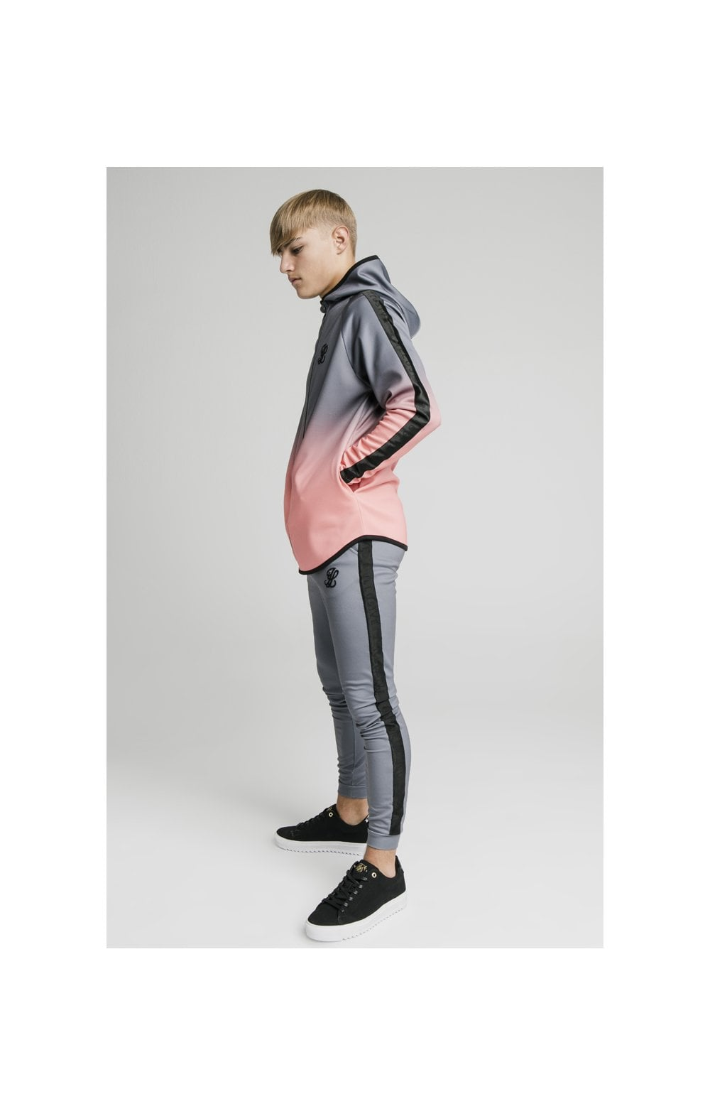 Load image into Gallery viewer, Illusive London Athlete Zip Through Fade Hoodie - Grey & Peach (4)