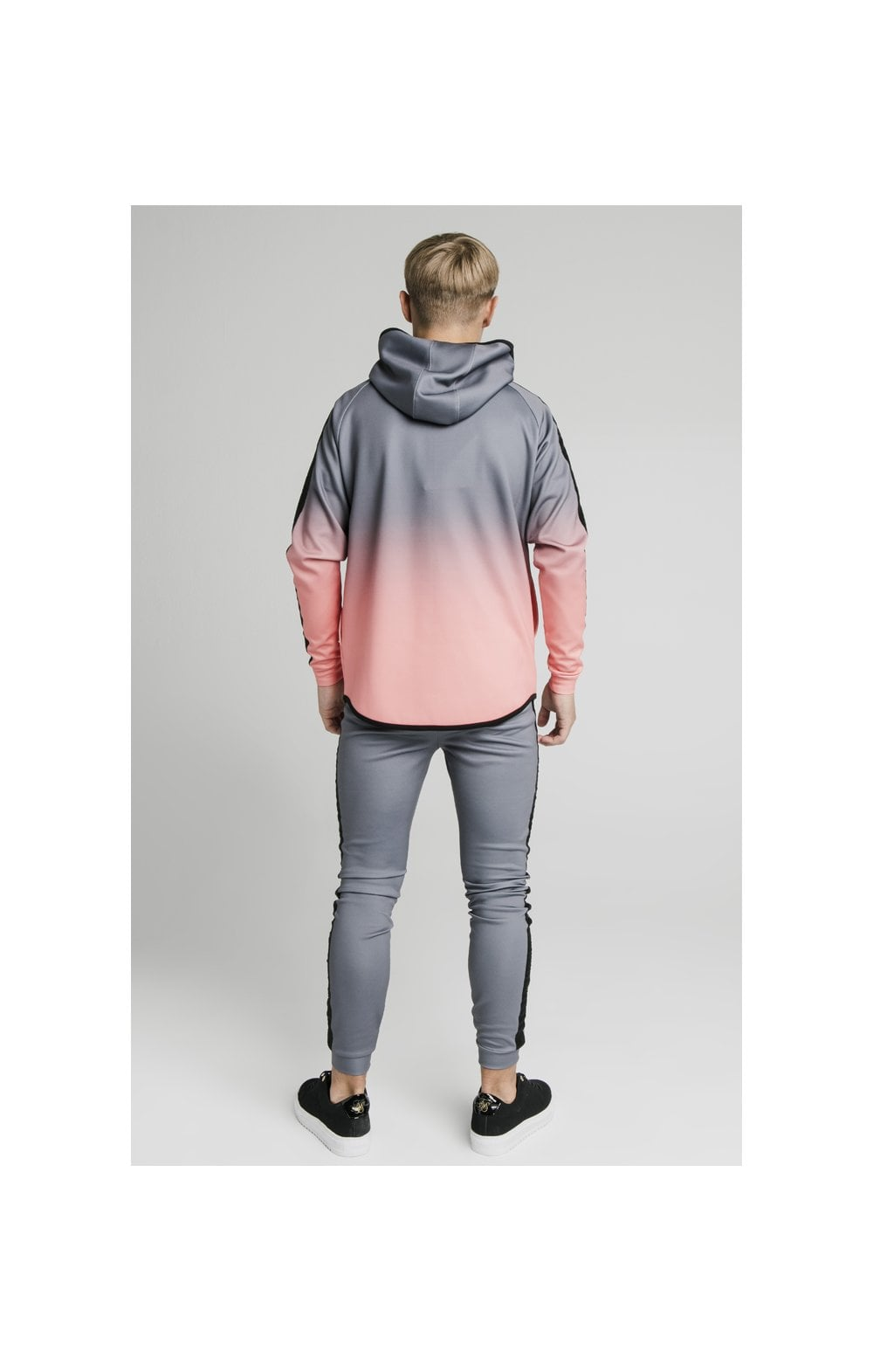 Illusive London Athlete Zip Through Fade Hoodie - Grey & Peach (5)