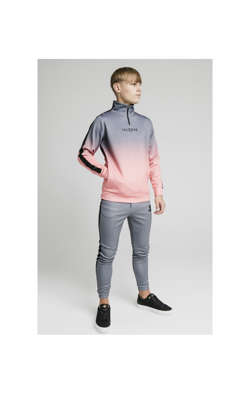 Load image into Gallery viewer, Illusive London 1/4 Zip Fade Hoodie - Grey & Peach (1)