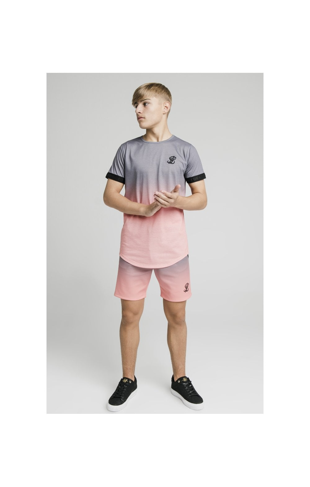 Load image into Gallery viewer, Illusive London Poly Fade Shorts - Grey & Peach (4)