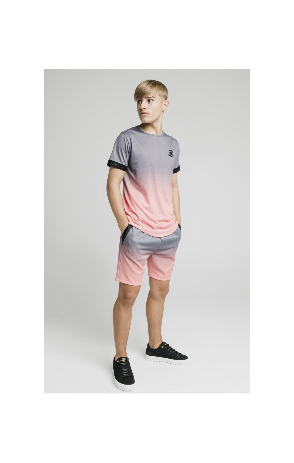 Load image into Gallery viewer, Illusive London Poly Fade Shorts - Grey & Peach (5)