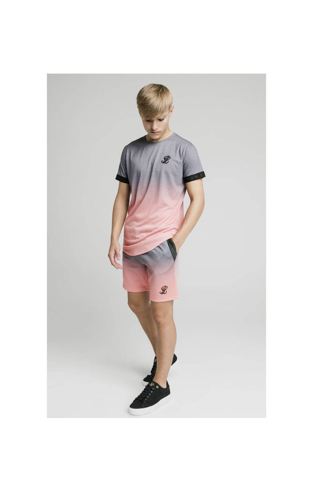 Load image into Gallery viewer, Illusive London Poly Fade Shorts - Grey & Peach (6)