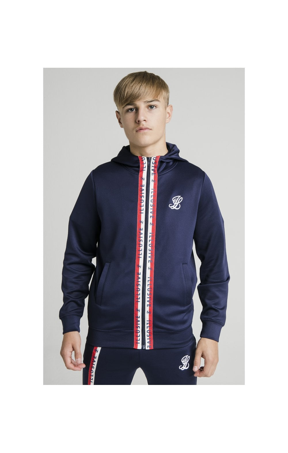 Load image into Gallery viewer, Illusive London Central Tape Zip Through Hoodie - Navy