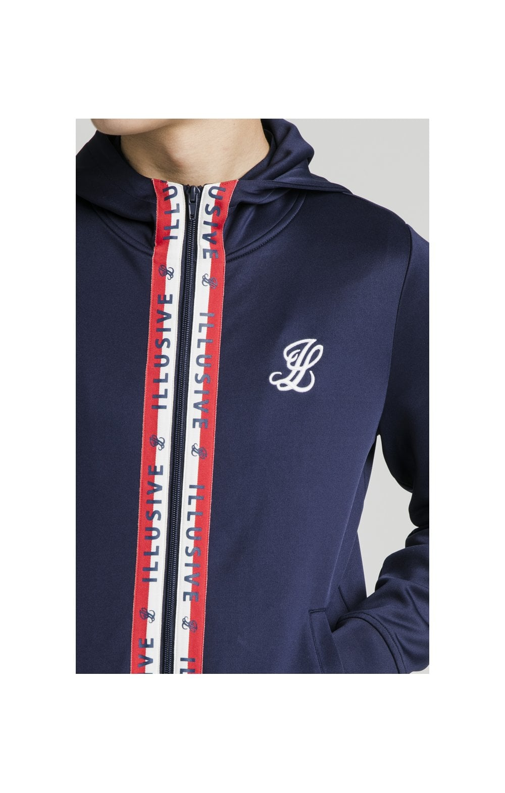 Load image into Gallery viewer, Illusive London Central Tape Zip Through Hoodie - Navy (1)