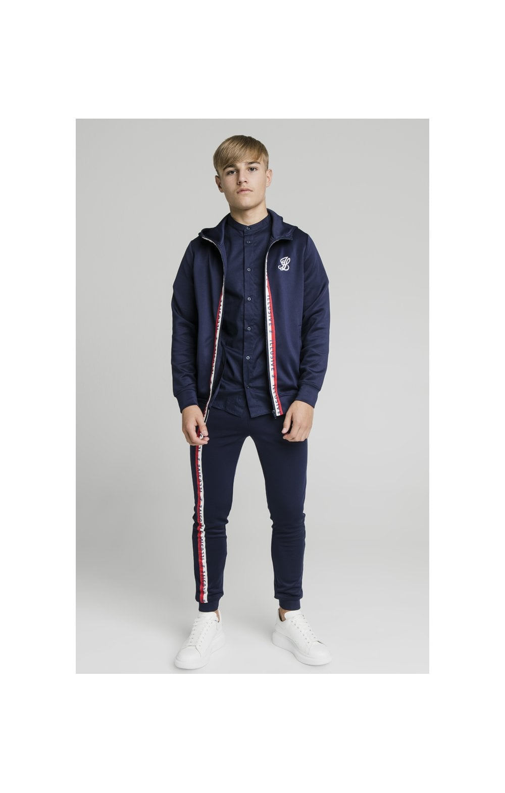 Load image into Gallery viewer, Illusive London Central Tape Zip Through Hoodie - Navy (2)