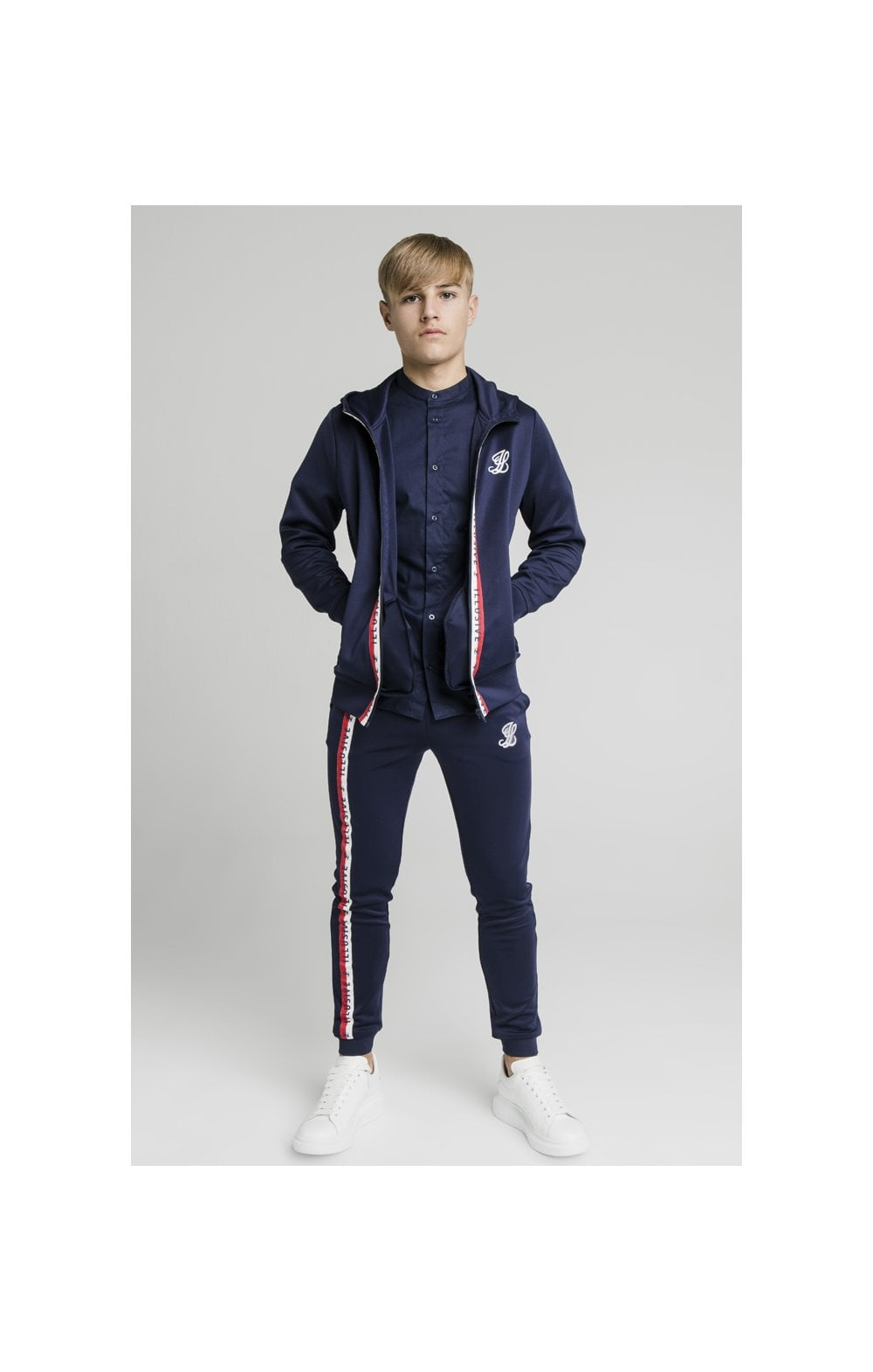 Load image into Gallery viewer, Illusive London Central Tape Zip Through Hoodie - Navy (3)