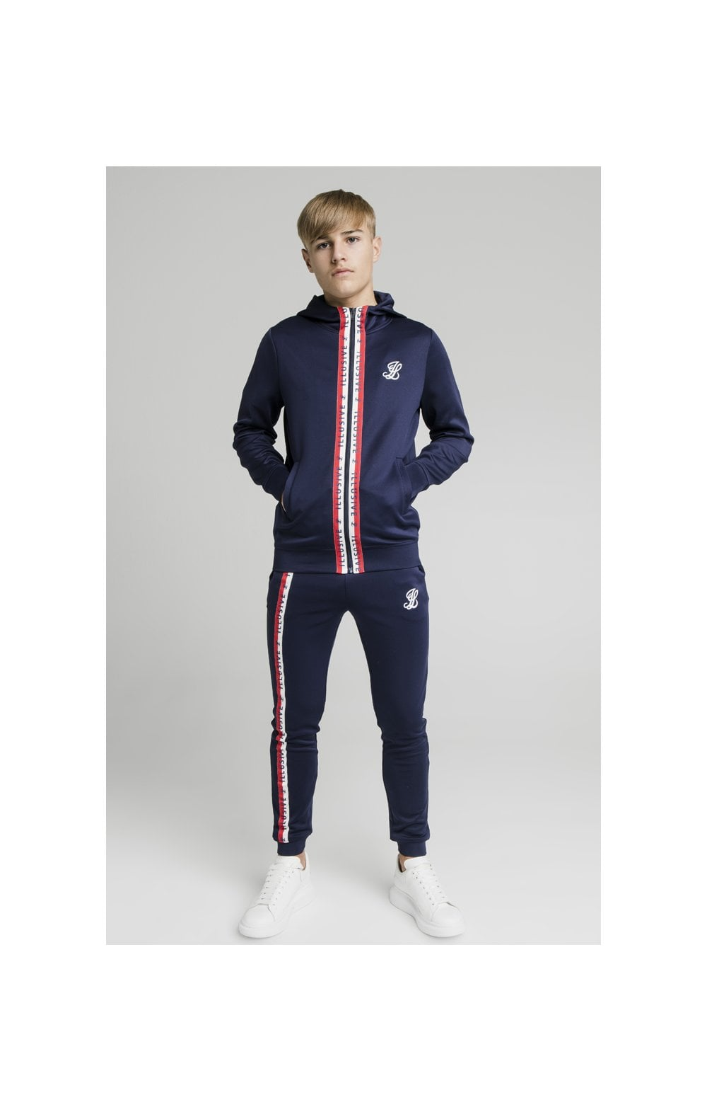 Load image into Gallery viewer, Illusive London Central Tape Zip Through Hoodie - Navy (4)