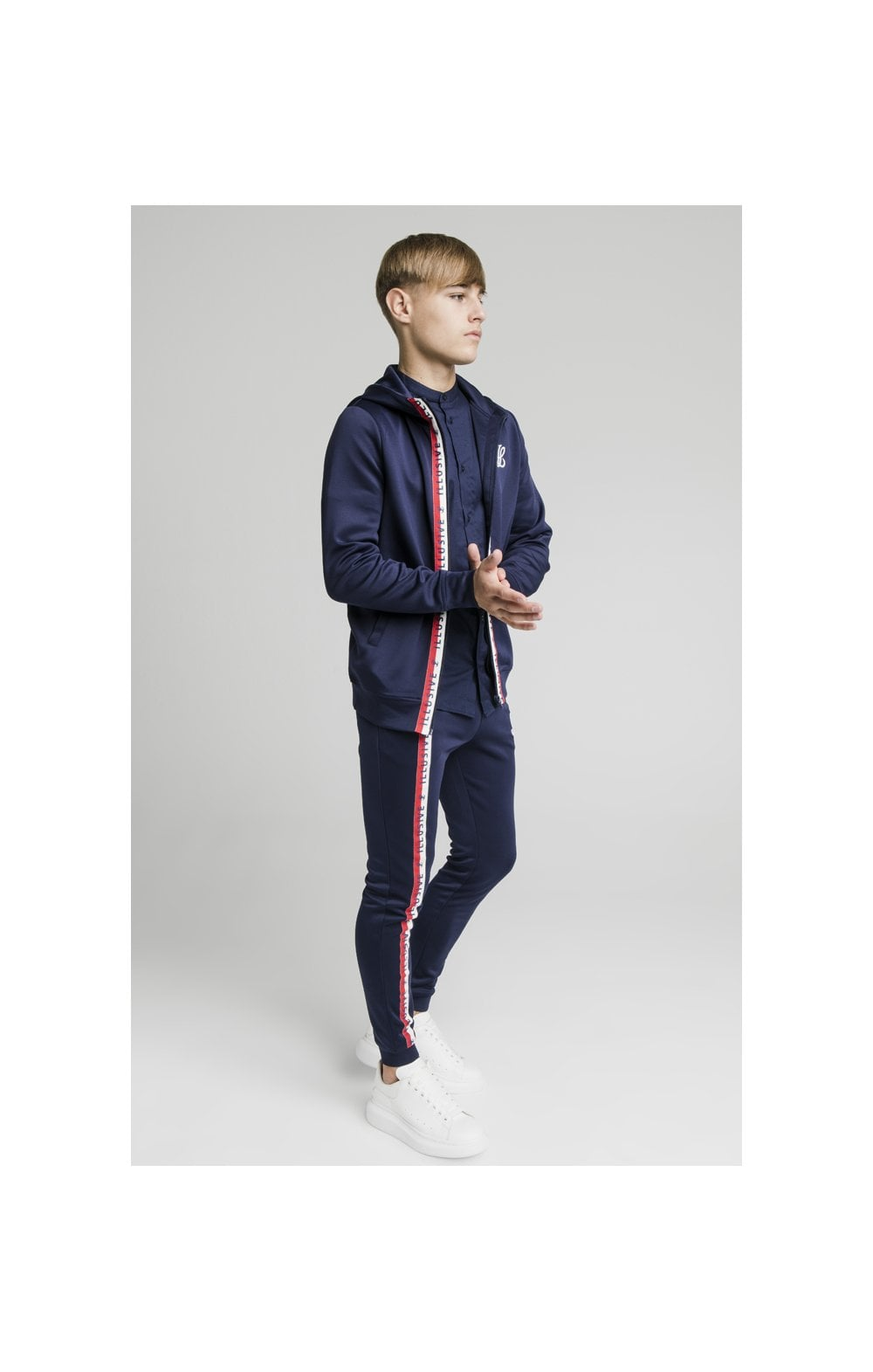 Load image into Gallery viewer, Illusive London Central Tape Zip Through Hoodie - Navy (5)