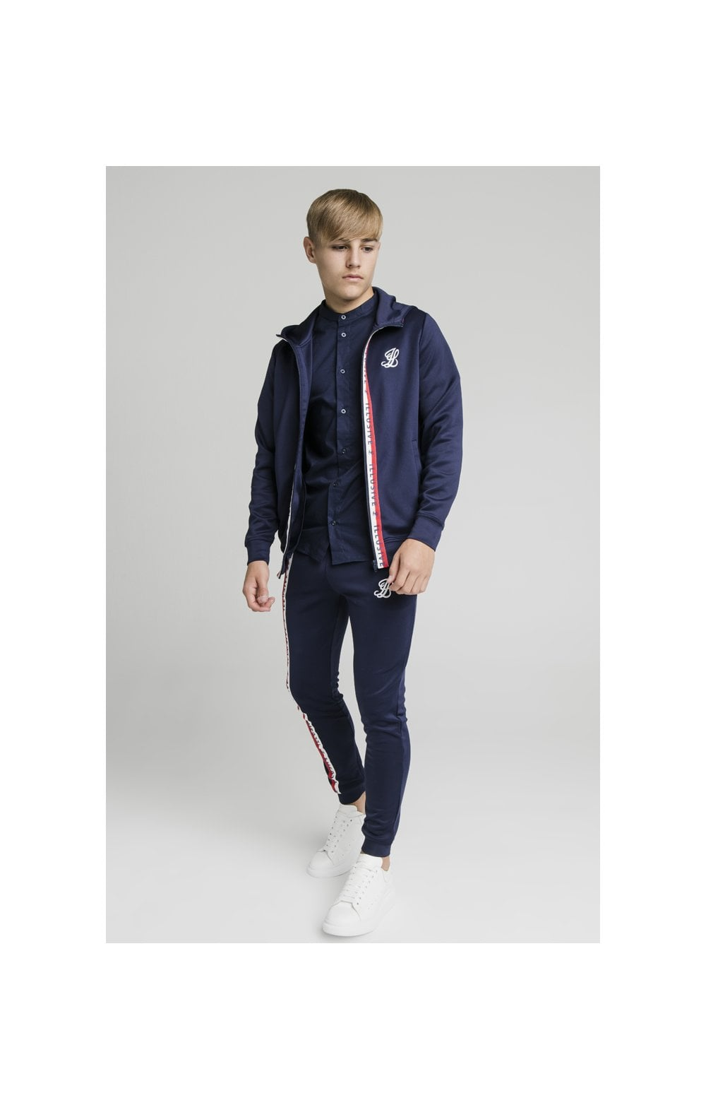 Illusive London Central Tape Zip Through Hoodie - Navy (6)