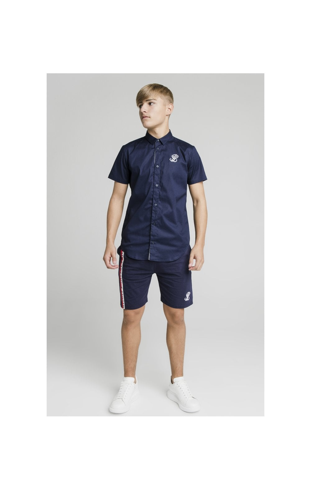 Load image into Gallery viewer, Illusive London Side Tape Jersey Shorts - Navy (4)