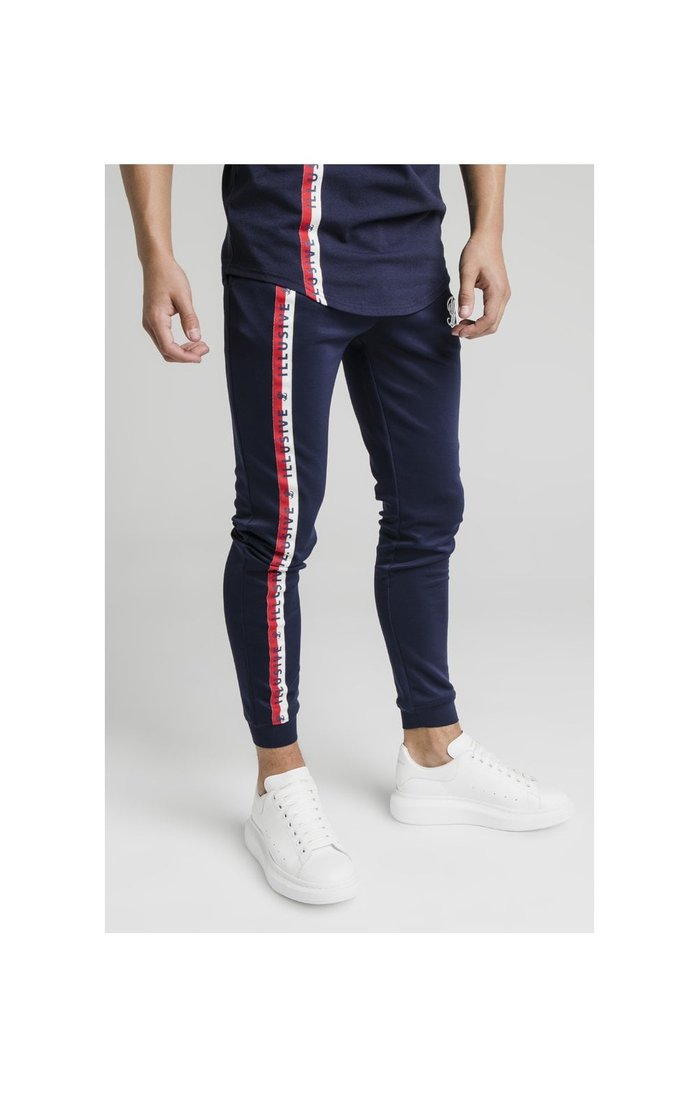 Illusive London Side Tape Joggers - Navy (3)