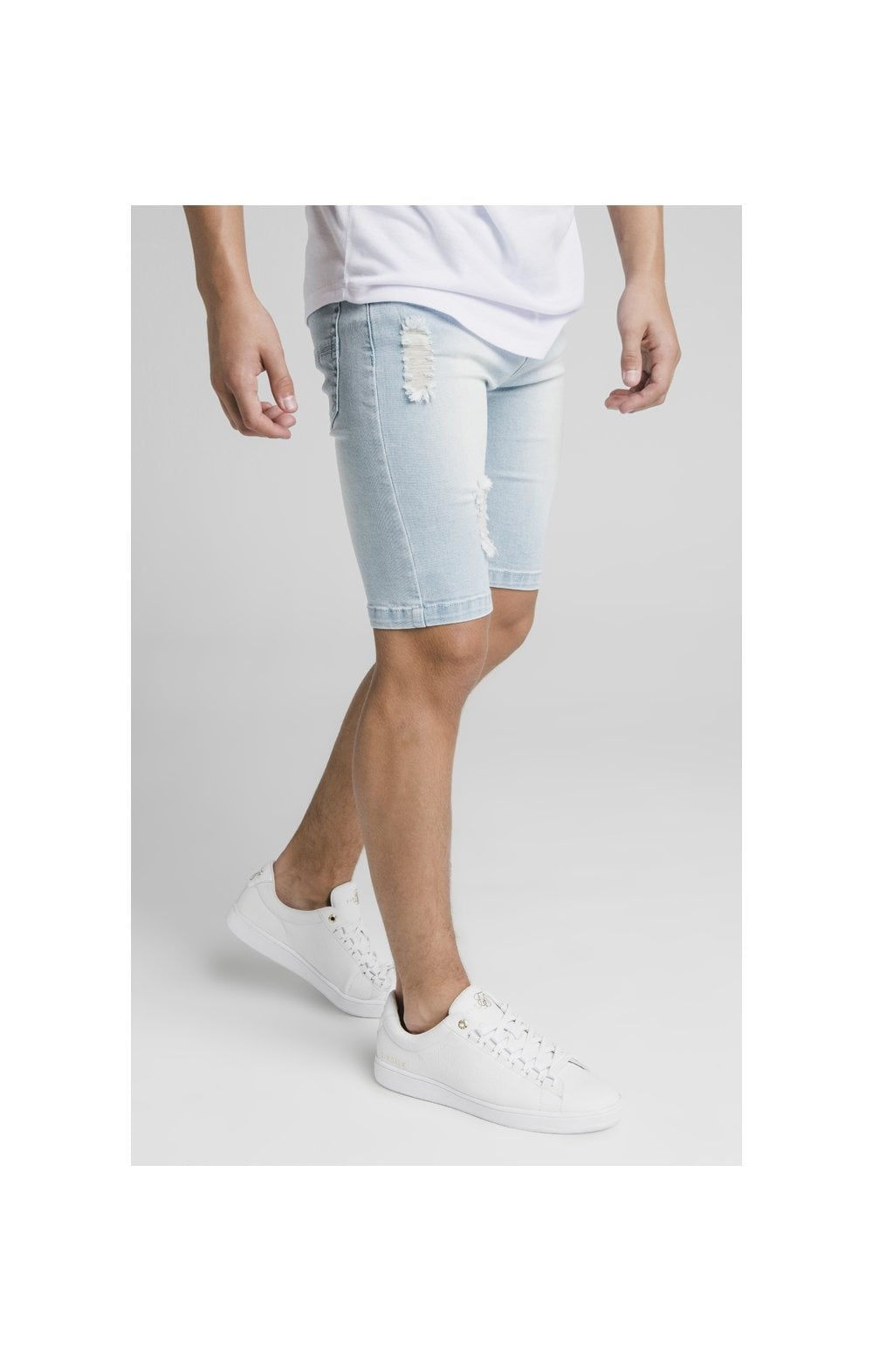 Illusive London Distressed Denim Shorts - Light Blue (1)