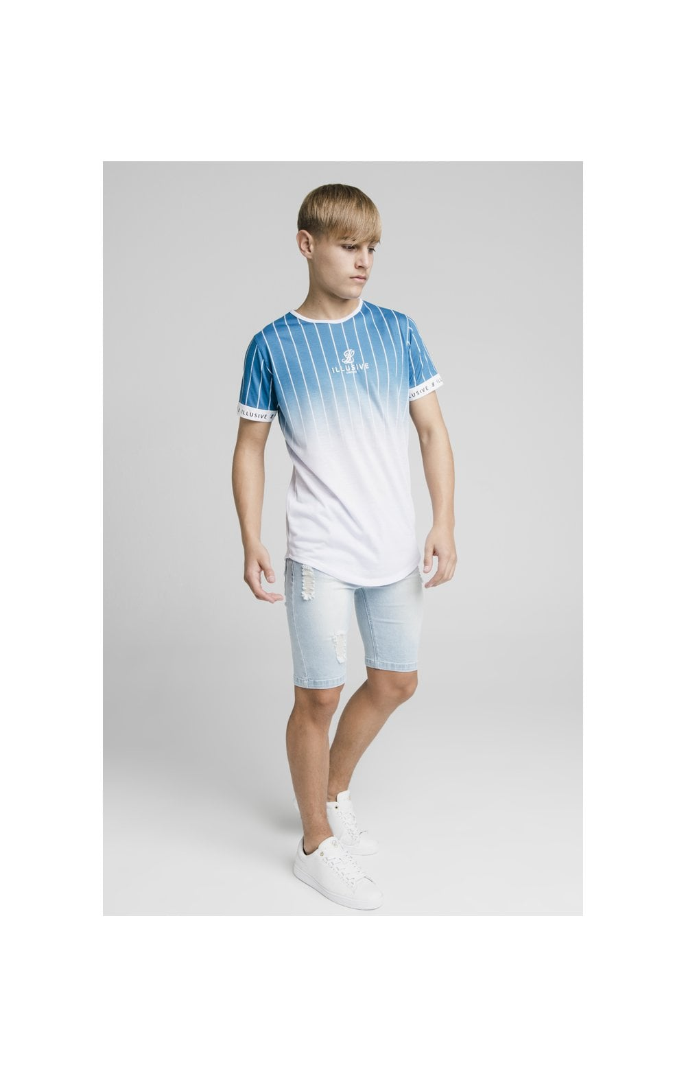 Illusive London Distressed Denim Shorts - Light Blue (4)