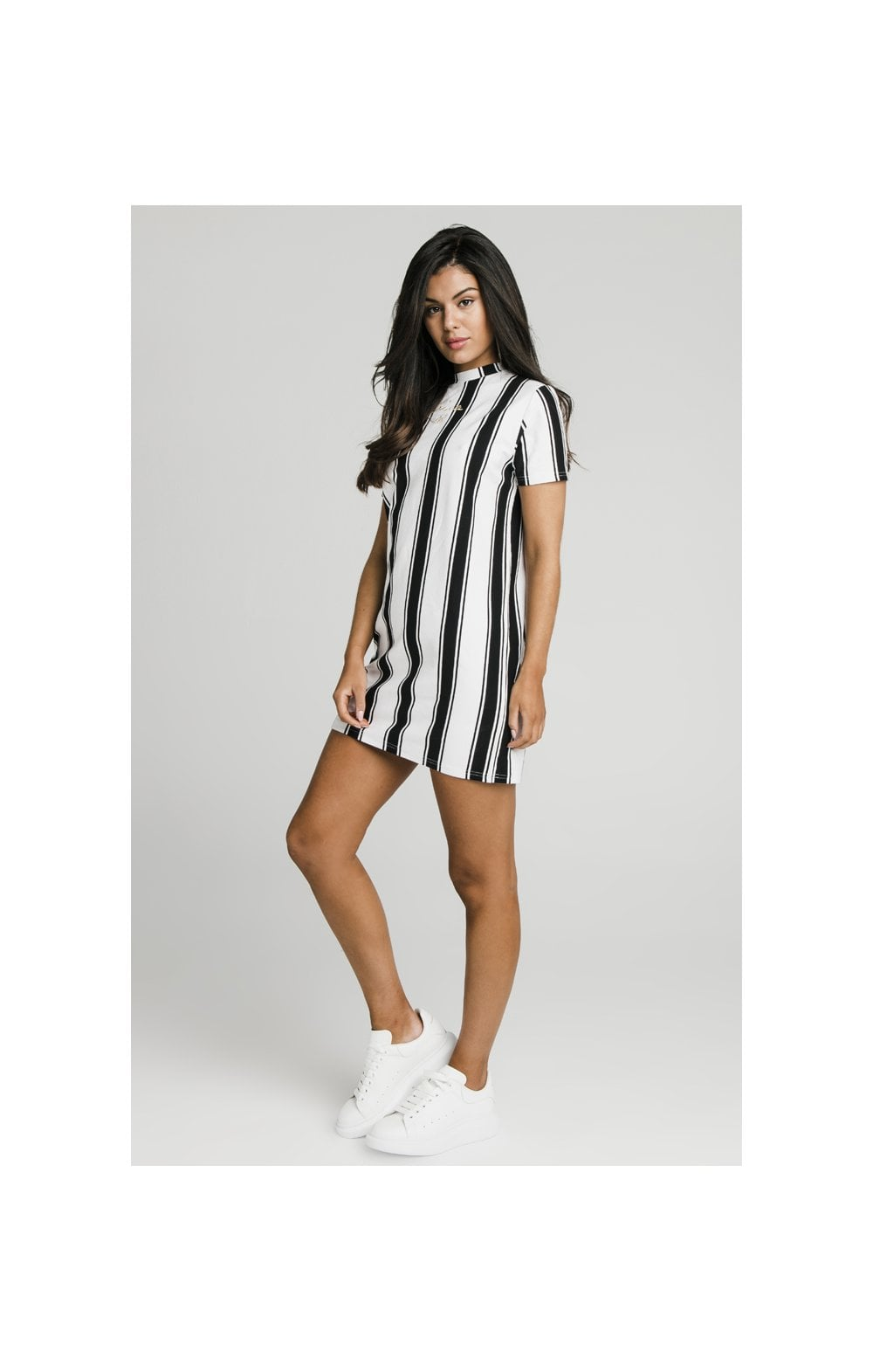 Load image into Gallery viewer, SikSilk Athena Stripe T-Shirt Dress - Black & White (2)