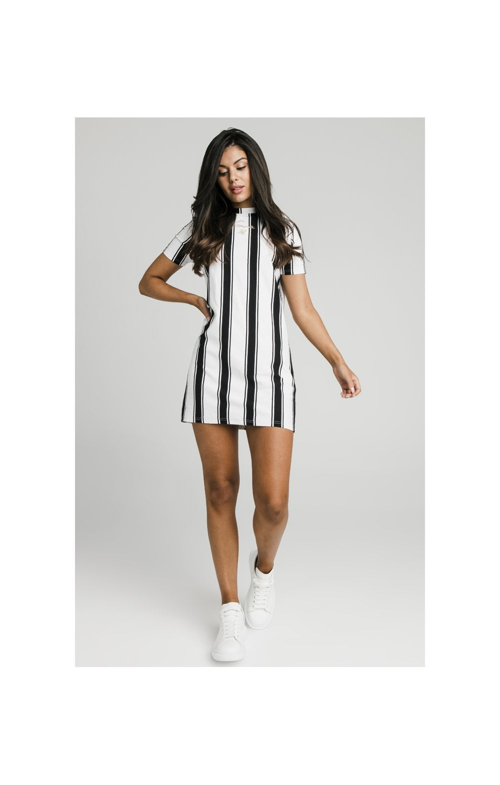 Load image into Gallery viewer, SikSilk Athena Stripe T-Shirt Dress - Black & White (3)