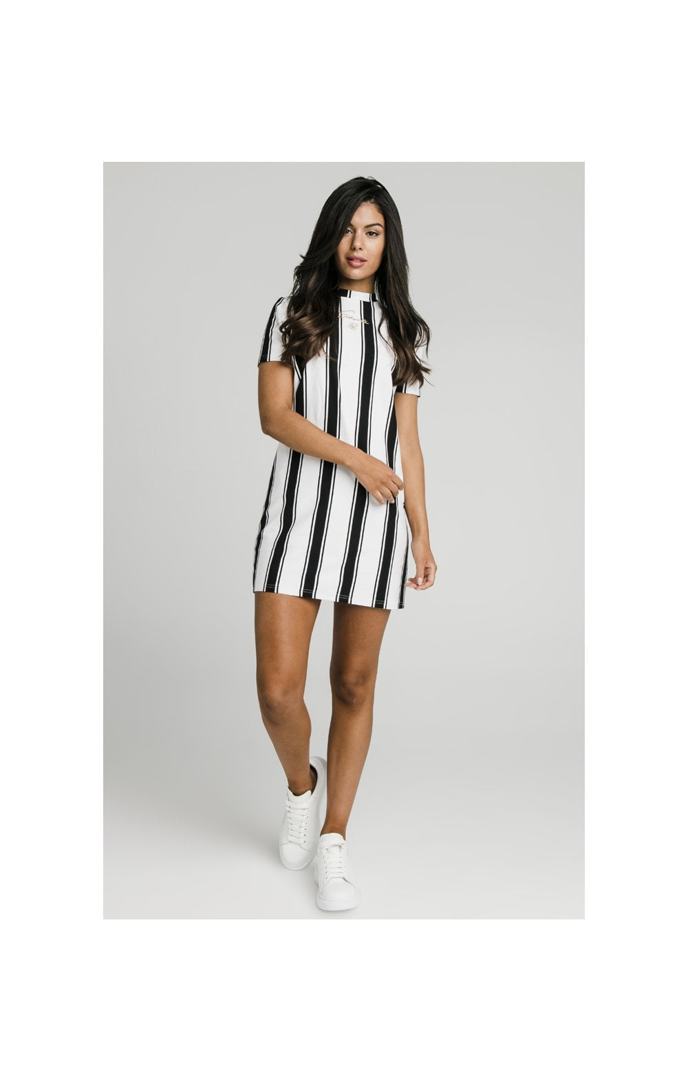 Load image into Gallery viewer, SikSilk Athena Stripe T-Shirt Dress - Black & White (4)
