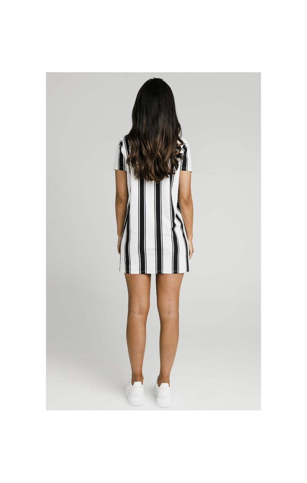 Load image into Gallery viewer, SikSilk Athena Stripe T-Shirt Dress - Black & White (5)