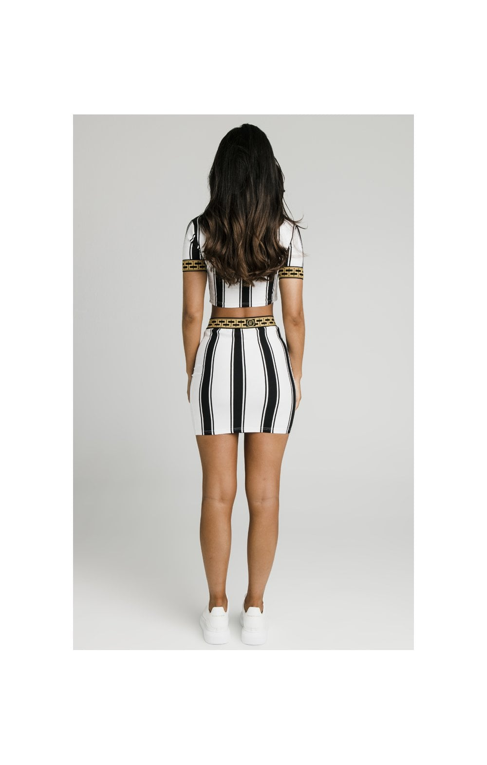 SikSillk Athena Stripe Skirt - Black & White (4)