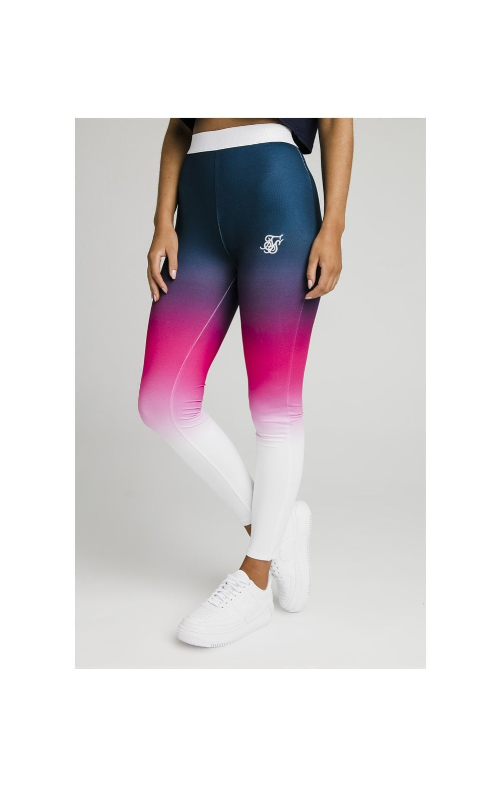 SikSilk Fade Tape Leggings - Navy, Pink & White