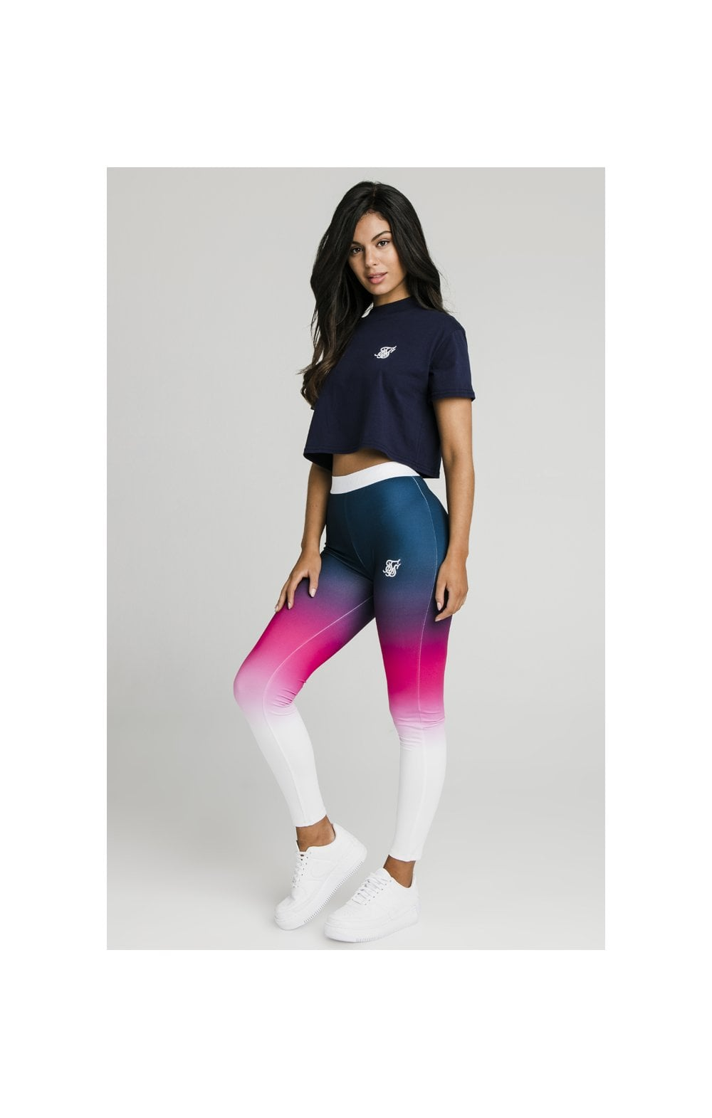 Load image into Gallery viewer, SikSilk Fade Tape Leggings - Navy, Pink & White (3)