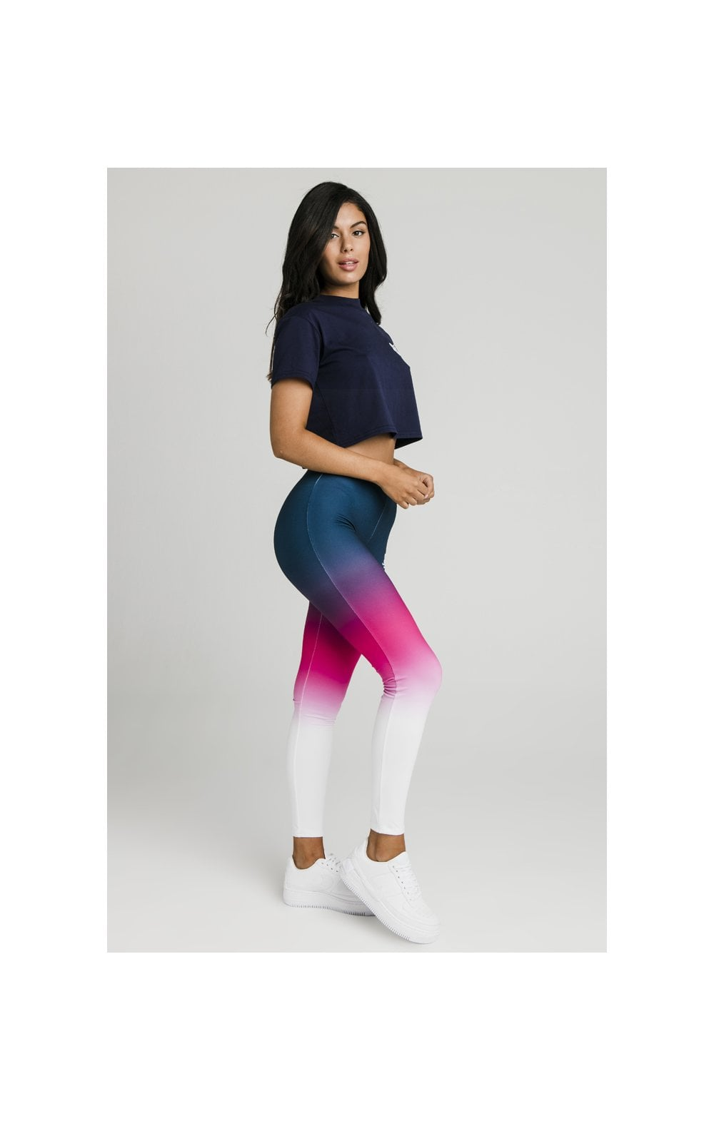 Load image into Gallery viewer, SikSilk Fade Tape Leggings - Navy, Pink & White (4)